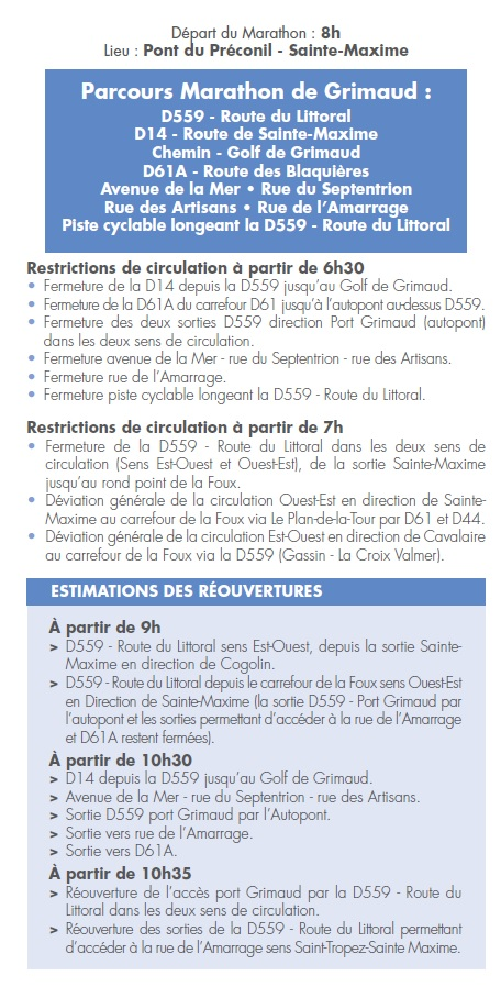 Sunday, March 31, 2019: 2nd marathon of the Gulf of Saint-Tropez - restriction of circulation